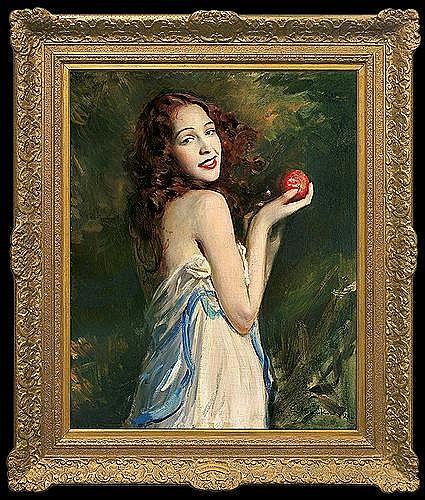 Szańkowski Bolesław - GIRL WITH AN APPLE, oil, canvas