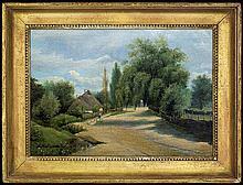 Malinowski Adam Wiktor - VILLAGE ROAD, 1852, oil, canvas on carton