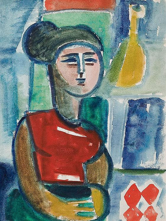 Stern Jonasz Woman in the Interior watercolour,