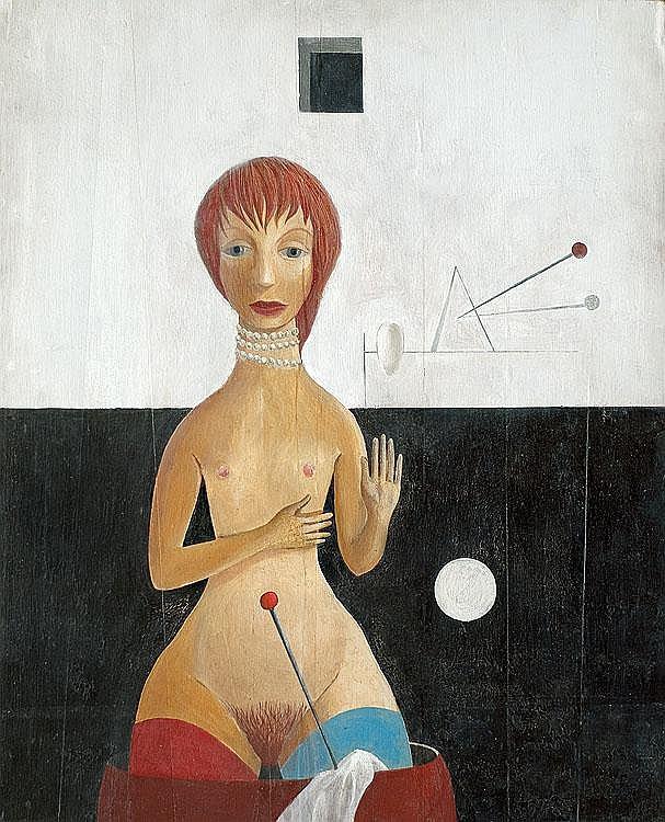 Mikulski Kazimierz Girl with a pin oil, plywood