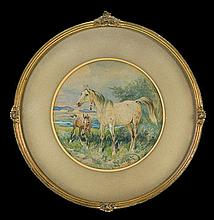 Kossak Juliusz - HORSE WITH A FOAL, 1896, watercolour, gouache, paper