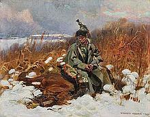Kossak Wojciech - FRENCH CUIRASSIER, 1902, oil, board