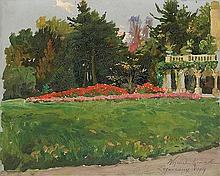 Kossak Wojciech - GARDEN IN FRONT OF THE PALACE IN ZAGÓRZANY, 1909, oil, cardboard