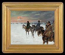 Kossak Jerzy - GREAT ARMY RETREAT FROM MOSCOW, 1935, oil, plywood