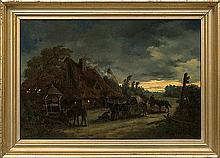 Rybkowski Tadeusz - IN FRONT OF THE INN. NIGHT, 1875, oil, canvas