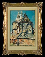 Fałat Julian - CHURCH NEAR CRACOW, watercolour, paper