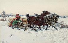Vesin Jaroslav - SLEIGH RIDE. GIRL IN A SLEIGH, ABOUT 1900., oil, board