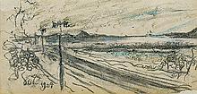 Wyspiański Stanisław - CRACOW. VIEW TO THE KOSCIUSZKO HILL, 1904, pencil, crayon, paper