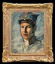 Styka Adam - SOLDIER PORTRAIT, oil, cardboard