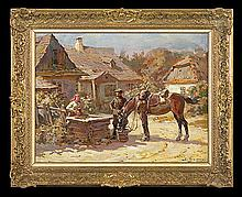 Bagieński Stanisław - HORSES WATERING, oil, canvas