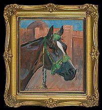 Kossak Wojciech - HORSE'S HEAD, 1926, oil, cardboard