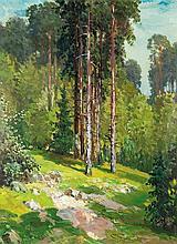 Mackiewicz Konstanty - GREEN FOREST, CIRCA 1950, oil, plywood
