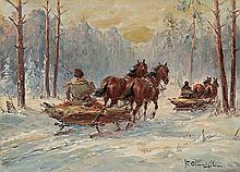 Chmieliński (Stachowicz) Władysław - SLEIGH IN THE FOREST, oil, cardboard