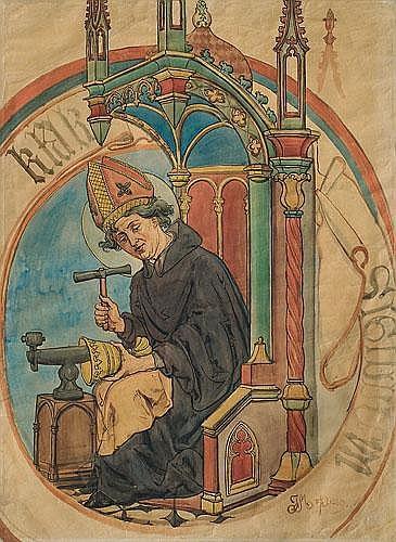 SAINT ELIGIUSZ, PATRON OF GOLDSMITHS, 1889