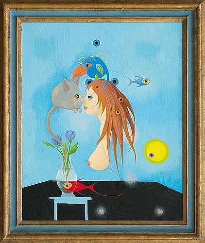 Magical case-bottle Mikulski Kazimierz oil, canvas