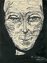 Oberlčnder Marek - EN FACE PORTRAIT, 1965, ink, paper,