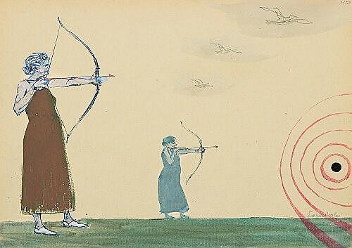 Wróblewski Andrzej - ARCHERS, C. 1955, gouache, waterpaint, ink
