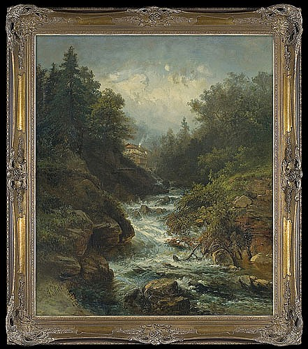 Peters Pieter Francis - STREAM IN THE MOUNTAINS, oil, canvas