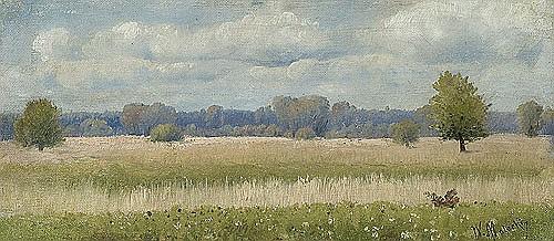 Malecki Władysław Aleksander - SUMMER LANDSCAPE WITH CORN FIELD, oil, canvas on cardboard