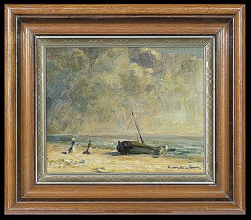 Serwin-Oracki Mieczysław - BOAT ON THE SEASHORE, oil, paper