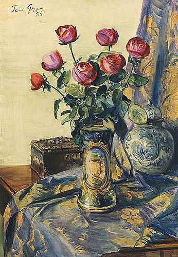 Grott Teodor - RED ROSES, 1913, watercolour, cardboard