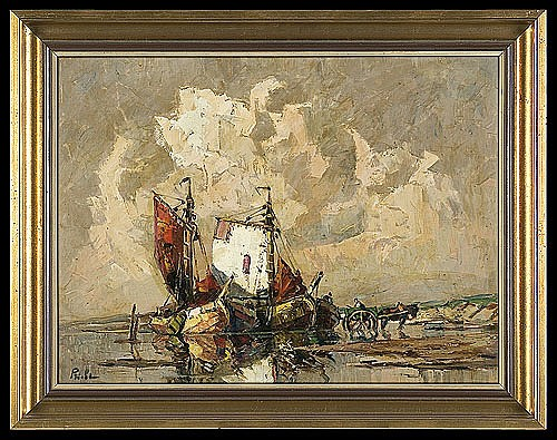 Priebe Rudolf - FISHING BOATS AT THE SHORE, oil, canvas