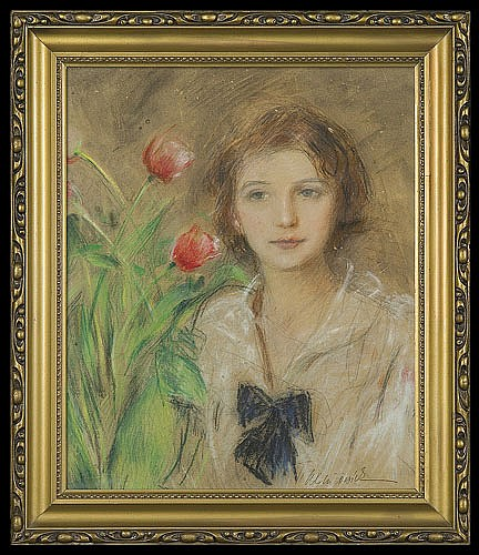 Axentowicz Teodor - GIRL WITH TULIPS, 1920'S, waterpaint, pastel, paper