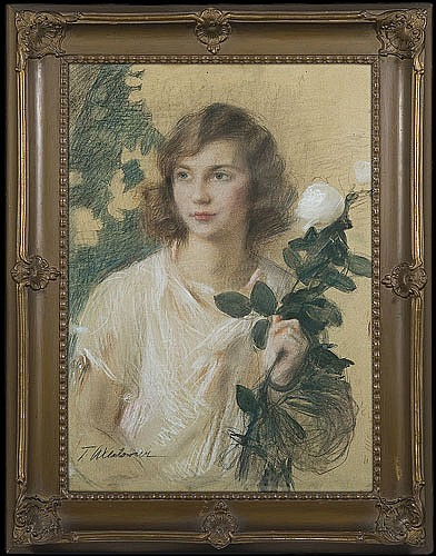 Axentowicz Teodor - WHITE ROSE, 1930, pastel, watercolour, paper