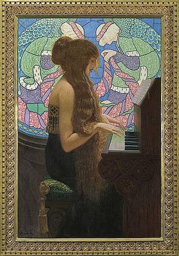 Okuń Edward - MUSICA SACRA, 1915, oil, canvas