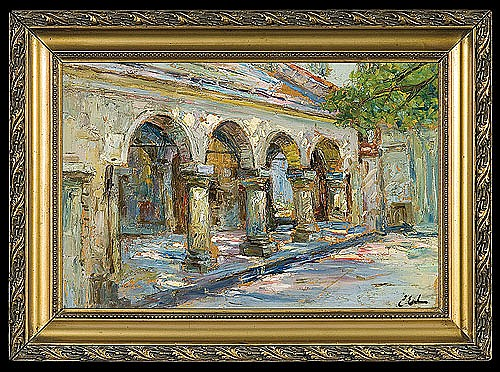 Erb Erno - CLOISTER, ABOUT 1920, oil, cardboard