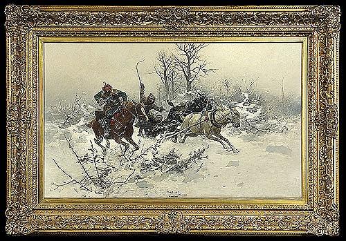 Brandt Józef - ESCAPE IN WINTER, C. 1890, oil, canvas
