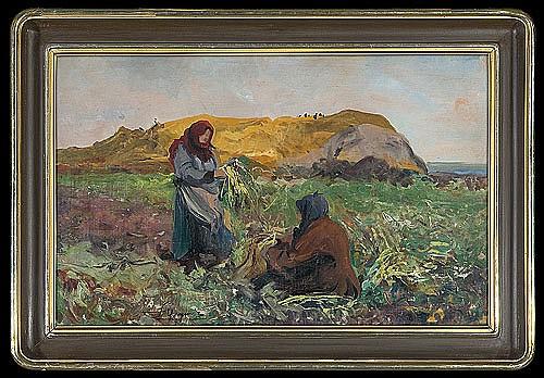 Wyczółkowski Leon - AT THE FIELD, 1911-12, oil, canvas on cardboard
