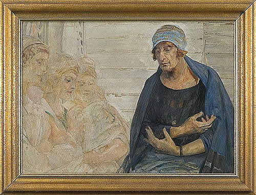 Malczewski Jacek - ARTIST WIFE WITH FATES, C. 1925, oil, cardboard