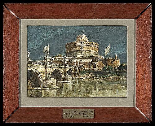 Zaleski Marcin - ST. ANGEL CASTLE IN ROME, 1848, watercolour, gouache, paper