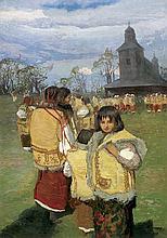 Trusz Iwan - HUTSULS IN FRONT OF A CHURCH, oil, cardboard