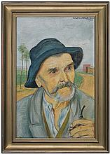 Hofman Vlastimil - OLD MAN WITH A PIPE, 1928, oil, canvas