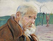 Hofman Vlastimil - THE OLD MAN WITH AN ANGEL, 1925, oil, board
