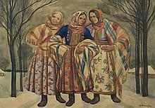 Skoczylas Władysław - THREE HIGHLANDERS ON THE ROAD, 1908-1918, watercolour, paper