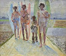 Malczewski Jacek -  ANGELS WITH TOBIAS, oil, canvas