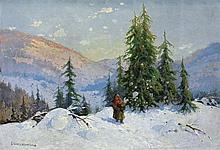 Cieczkiewicz Edmund - WINTER IN THE MOUNTAINS, oil, cardboard