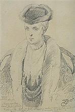 Matejko Jan - MARIANNA FROM MYSZKÓW RADZIWIŁŁOWA, BEFORE 1860, pencil, paper