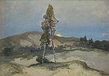 Trusz Iwan - LANDSCAPE WITH BIRCHES, oil, cardboard