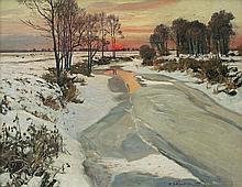 Wywiórski Michał Gorstkin -  SUNSET IN WINTER, 1906, oil, canvas