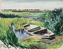 Fałat Julian - A BOAT ON THE PONDSHORE, 1919, watercolour, cardboard