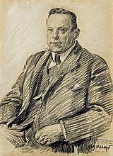 Mehoffer Józef - PORTRAIT OF KONRAD KOLSZEWSKI, 1923, crayon, charcoal, gouache, laid paper