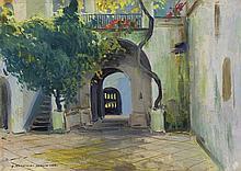 Rychter-Janowska Bronisława - ITALIAN COURTYARD, CA. 1904, oil, carton