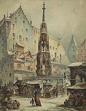 Perlberg Friedrich - CHRISTMAS MARKET IN NUREMBERG,1877, watercolour, paper