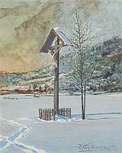 Kozakiewicz Antoni -  THE WAYSIDE SHRINE , 1897, watercolour, gouache