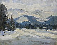 Filipkiewicz Stefan - TATRA MOUNTAINS DURING WINTER, oil, cardboard
