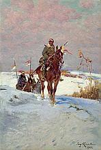 Kossak Jerzy - UHLANS' ON PATROL, 1922, oil, cardboard